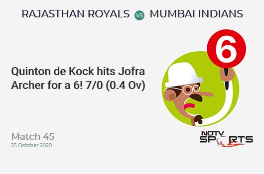 RR vs MI: Match 45: It's a SIX! Quinton de Kock hits Jofra Archer. Mumbai Indians 7/0 (0.4 Ov). CRR: 10.5