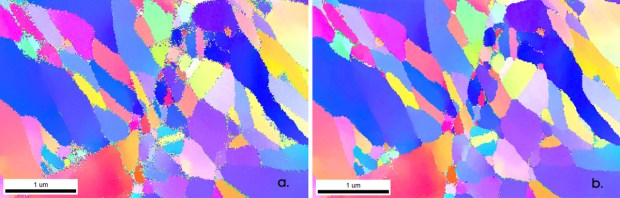 Figure 6. IPF map of fine-grained meteorite sample a) before and b) after NPAR reprocessing. The grain boundary positions have not changed, but in the reprocessed map the indexing success is higher and smaller grains are successfully recognized.