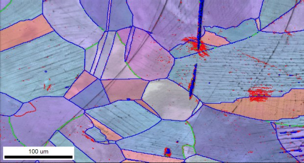 EBSD IPF on IQ map of Ni alloy
