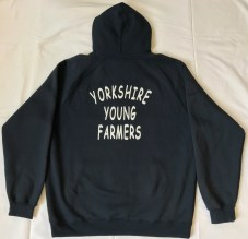 "Yorkshire FYFC Hoody - navy blue hoody with white embroidered logo and printed white ""Yorkshire Young Farmers"" on reverse"