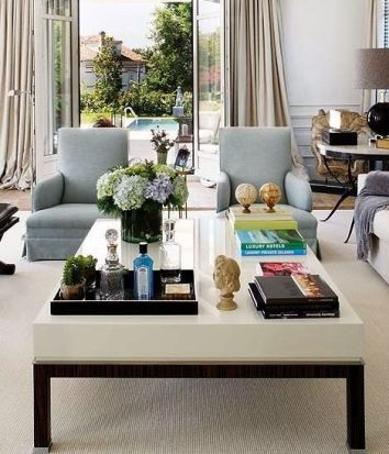 Home Essentials Open Concept Living Room with Large Coffee Table and Gray Armchairs