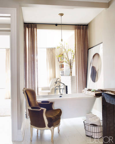 A Victoria + Albert claw-foot tub with fittings by Samuel Heath in the master bath. For a tour of Keri Russell's gorgeous Brooklyn brownstone, click here.