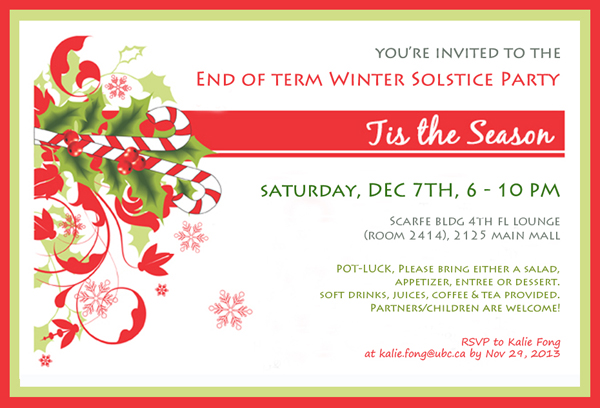 End Of Term Winter Solstice Party Department Of
