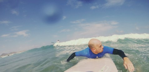 Edgar catching the surf