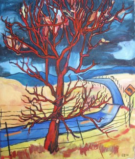 "Red Tree and Road, 18 x 15"", $810"