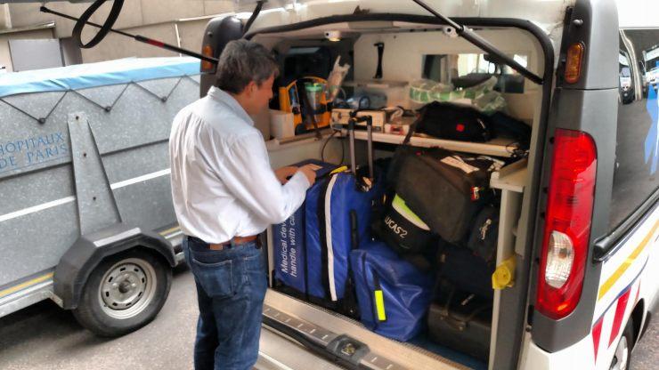 Lionel Lamhaut and the SAMU ambulance
