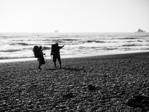 preparing to hike to an overnight camp on Rialto Beach
