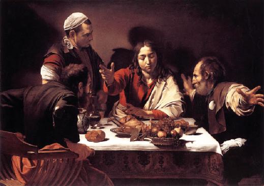 Caravaggio, La cena de emaús, 1597, oleo sobre lienzo (National Gallery, Londres)