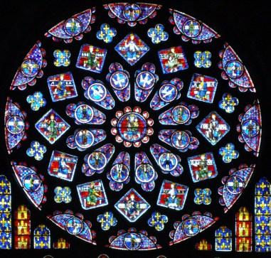 Rosetón norte dedicado a Santa ana y la virgen, Catedral Notre Dame de Chartres, (1221-1230)