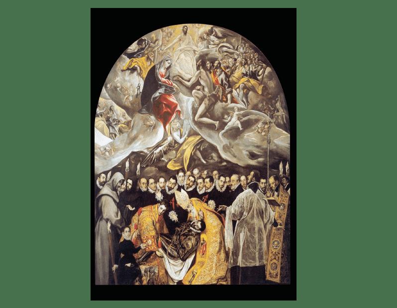 El Greco, el entierro del conde de Orgaz, 1586-1587 (Iglesia de Santo Tomé, Toledo), el greco consigue una profunda visión y fusión entre el mundo real y sus prolongaciones.