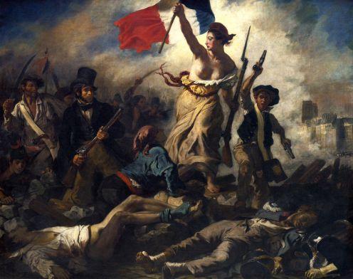 Eugéne Delacroix, la libertad guiando al pueblo, 1830, museo de Louvre, París, considerado como el primer cuadro histórico, influido por temas de la revolución.