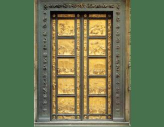 Lorenzo Ghiberti, Las puertas del paraíso, 1425-1452, configuración plenamente renacentista, realizado en bronce dorado.