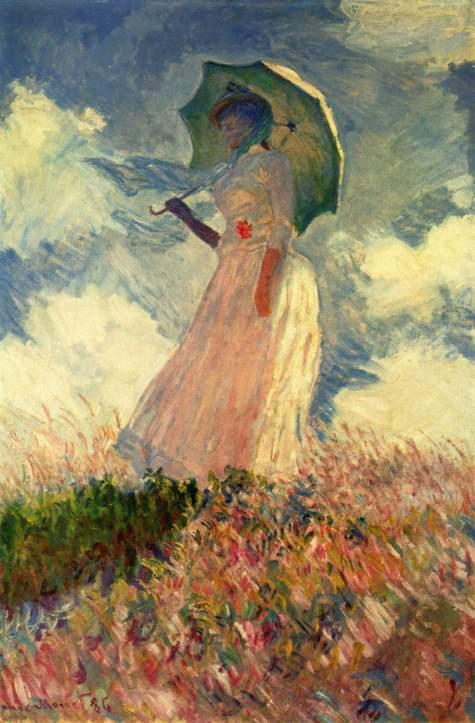 Claude Monet, estudio de figura en el exterior, mujer con Paragua, mostrando perfil izquierdo, (1886)