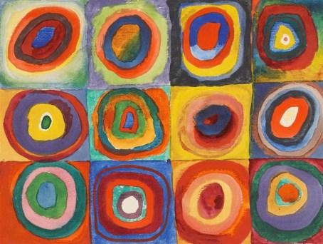 Wassily Kandinski, estudio de color, cuadros conformados con circulos concéntricos, 1913