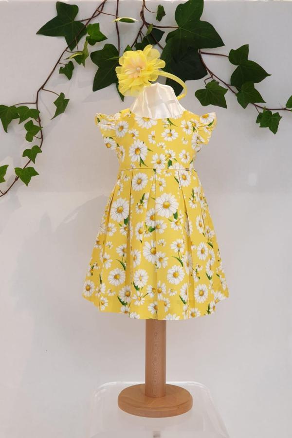 Robe marguerite jaune 35 euros robe coton jaune doublée coton du 6 mois au 3 ans