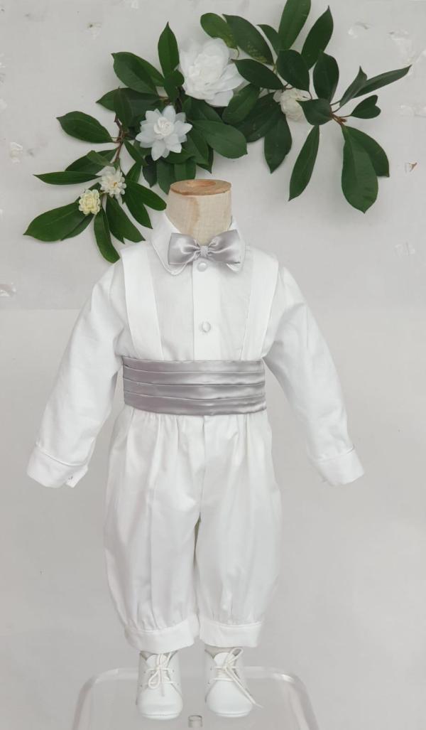 Ensemble Sacha manches longues ceinture satin grise 95 euros knickers et chemise en pique de coton ceinture et noeuds en satin gris fabrication française dans nos ateliers parisiens