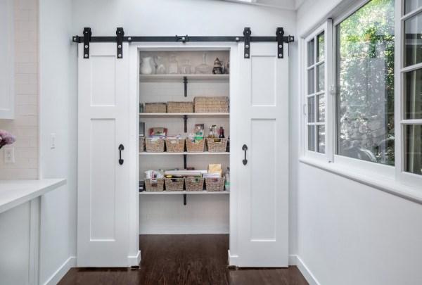 sliding barn door kitchen pantry Kitchen Remodeled Studio City with Barn Door Pantry   Eden