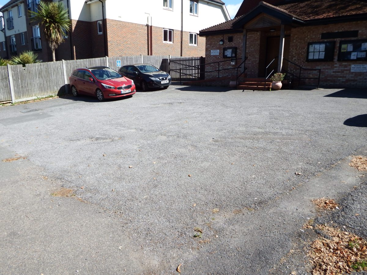 car parking space to front of edenbridge village hall
