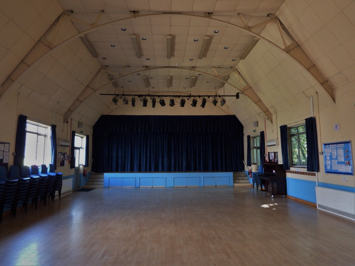 Main hall and stage at Edenbridge Village Hall