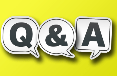 In The Foreground Is A Large Q & A In Speech Bubbles, On A Bright Yellow Background