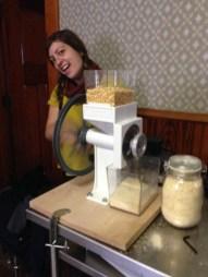 Cassandra milling corn!