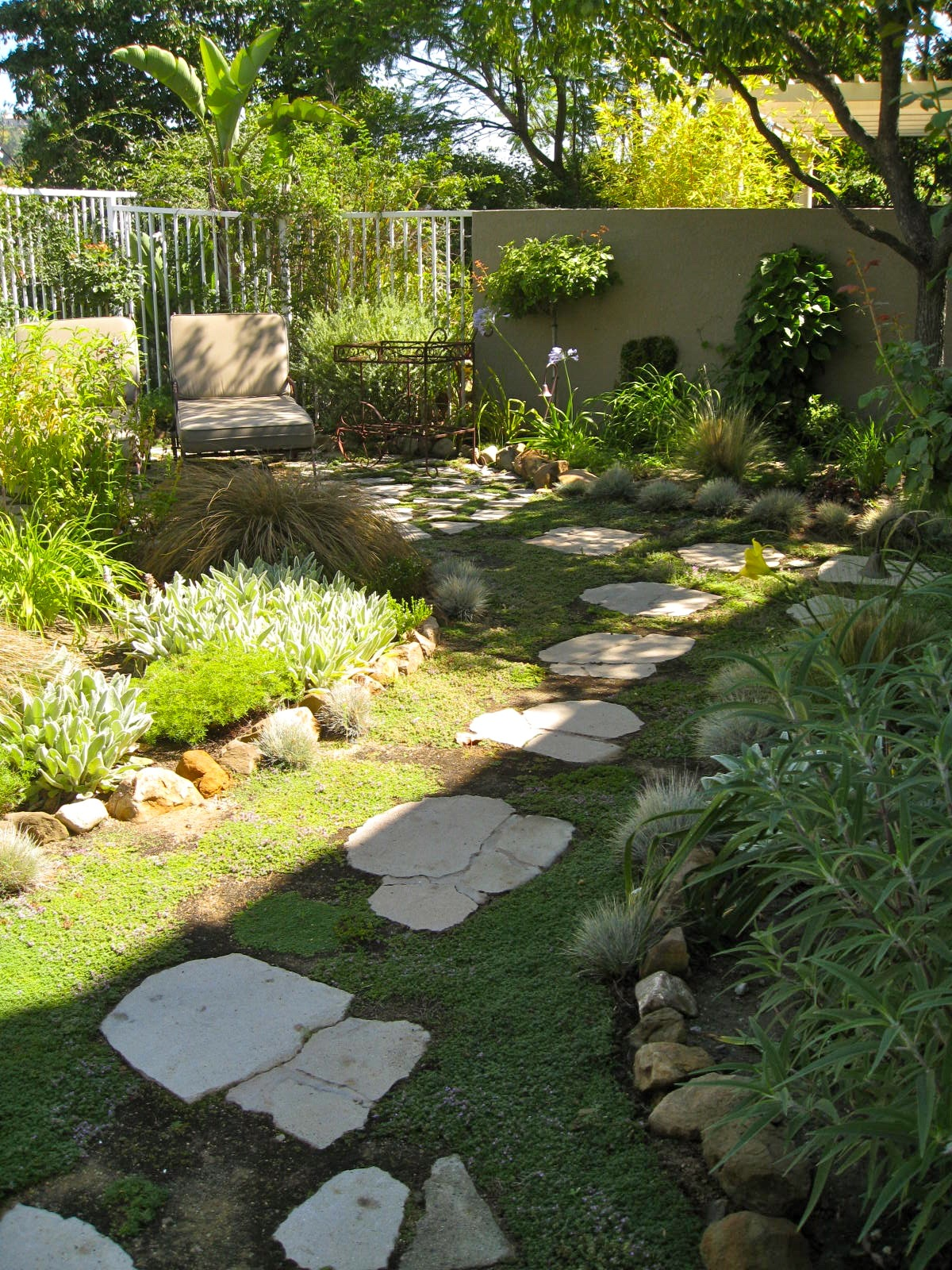 Decomposed granite and recycled concrete paver footpath with creeping Thyme  Eden Makers Blog