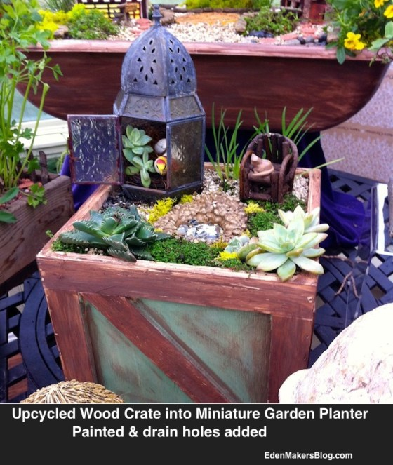 beach themed miniature-garden with upcycled painted wood crate made into a planter by shirley bovshow www.edenmakersblogjpg