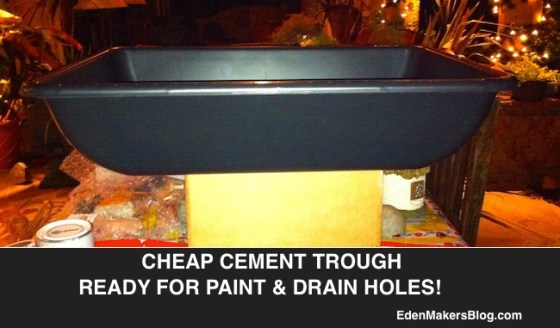 plastic-cement-mixing-trough-upcycled and painted into a garden-planter-edenmakersblog