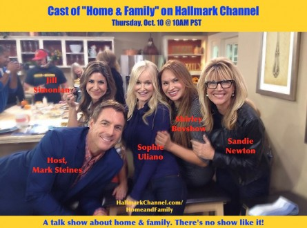 cast of home & family show with Mark Steines, host, Shirley Bovshow, Jill Simonian, Sophie Uliano and Sandie Newton