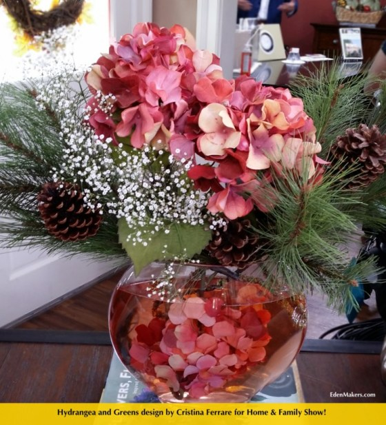 hydrangea-and- pine greens-floral-arrangement-edenmakers