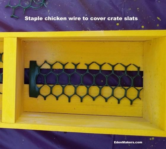 green-plastic-chicken-wire-in-wood-crate-slat
