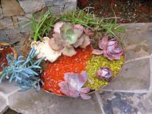 tumbled colored glass for the garden