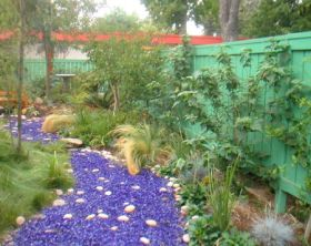 tumbled glass river in garden