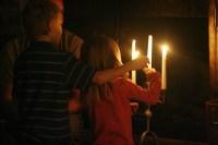 Lighting candles  Eden's Bouquet