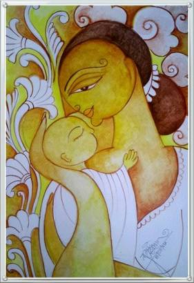 Painting of mother and baby in love