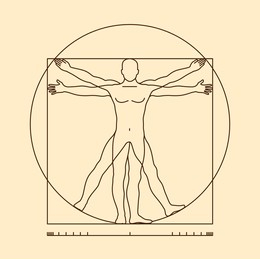 A stylized version of DaVinci's Vitruvian Man, depicting the concept of alignment