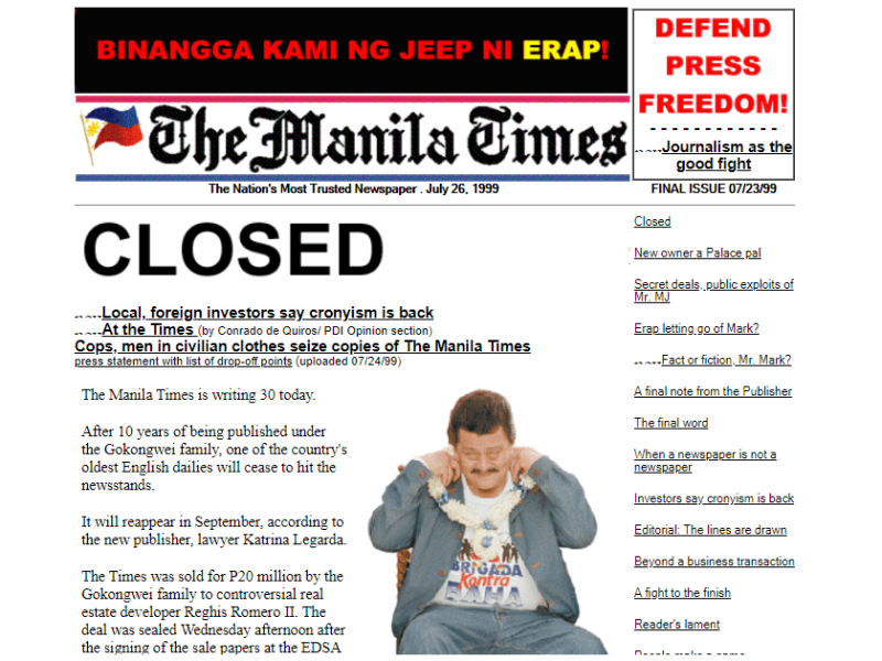 Manila Times final issue - July 23, 1999