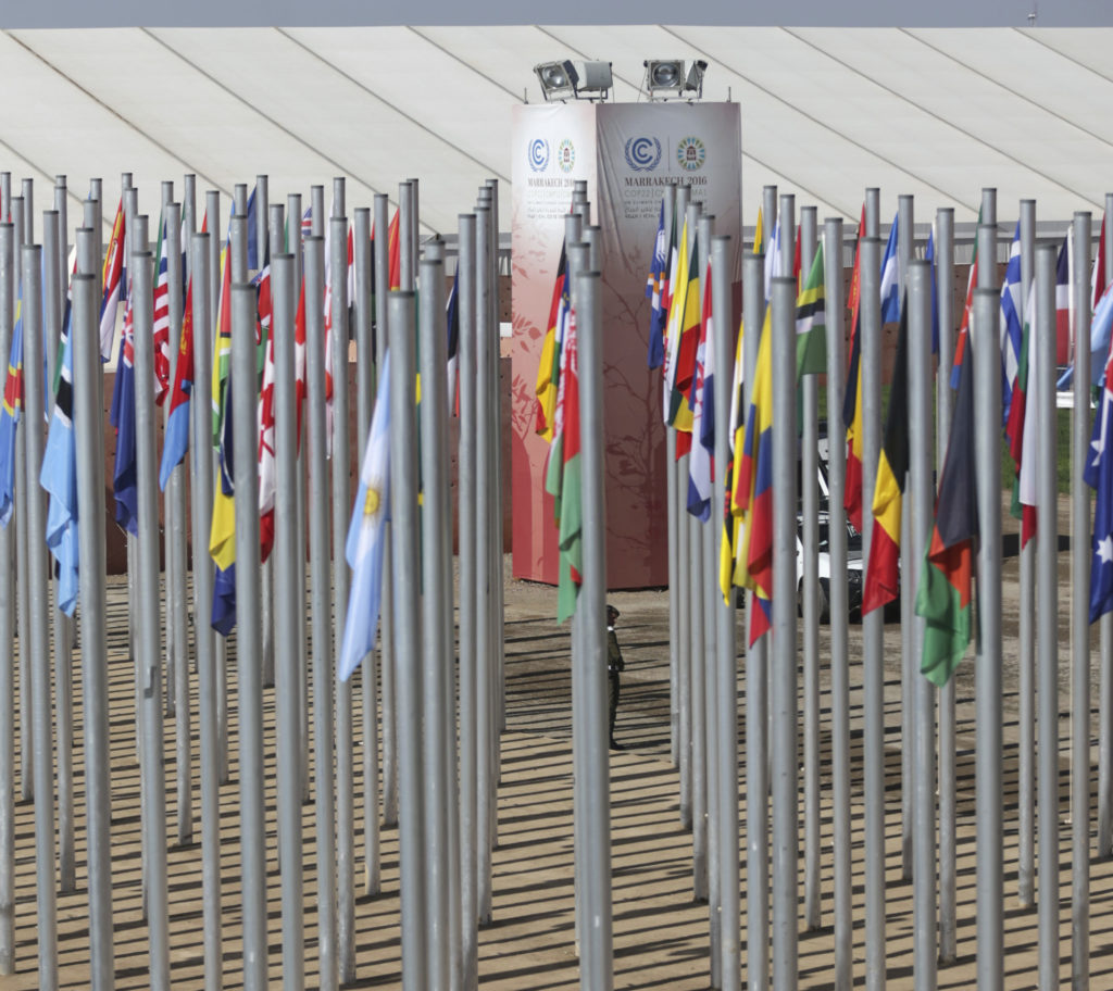 A member of security stands guard outside the COP22 climate change conference, on the last day of the convention that was held in Marrakech, Morocco, Friday, Nov. 18, 2016. (AP Photo/Mosa'ab Elshamy)