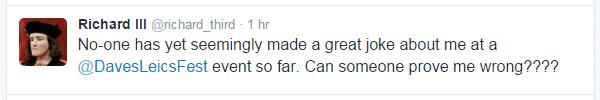 Richard III tweet asking for a great joke - limerick Richard III reputation