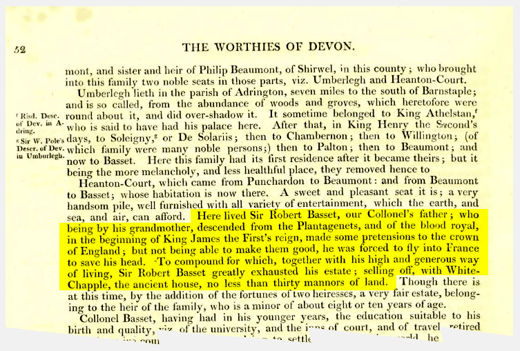 Worthies of Devon - excerpt on Sir Robert Basset