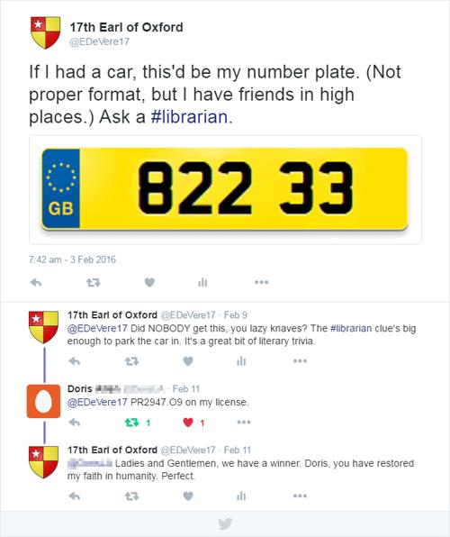 number plate tweets - books Oxfordian Looney Ward