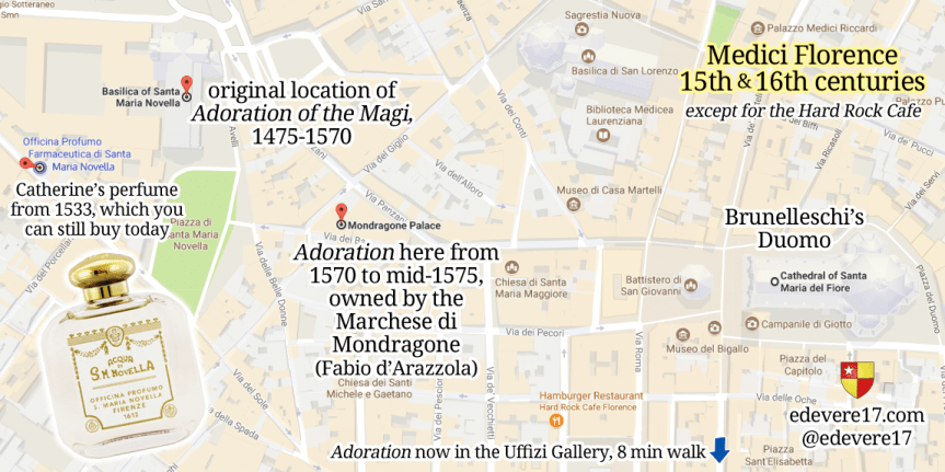 my captioned map of Florence - Medici Florence Botticelli Adoration