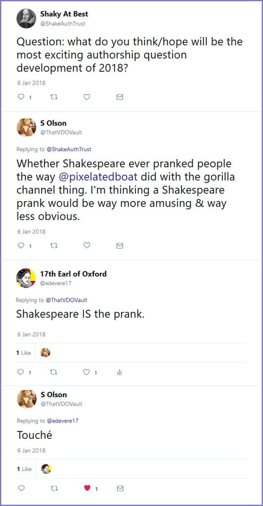 Twitter thread re Shakespeare prank - Shakespeare Authorship joke Twitter
