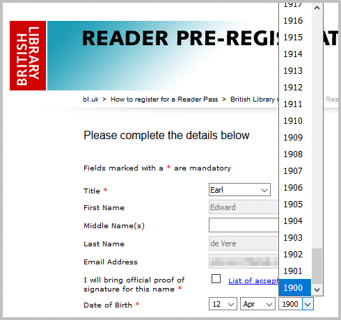 British library reader application age discrimination - Mary Queen Scots trial