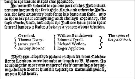 John de Vere as persecutor from Foxe - Thomas Hawkes Protestant martyr