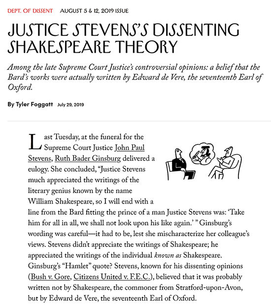New Yorker article 1st para - Oxfordian Supreme Court Justice Stevens