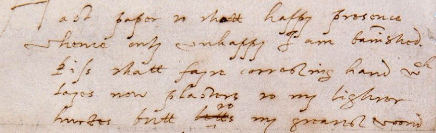 Banner - Essex's handwriting in letter to Elizabeth