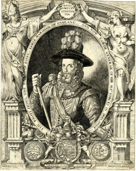 Essex c1599 engraving by Wm Rogers - classical elements surrounding