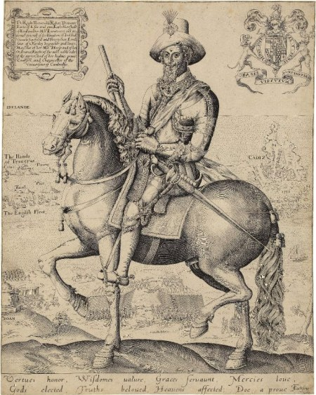 Essex c1599 engraving by Thos Cockson - equestrian with Cadiz Azores Ireland