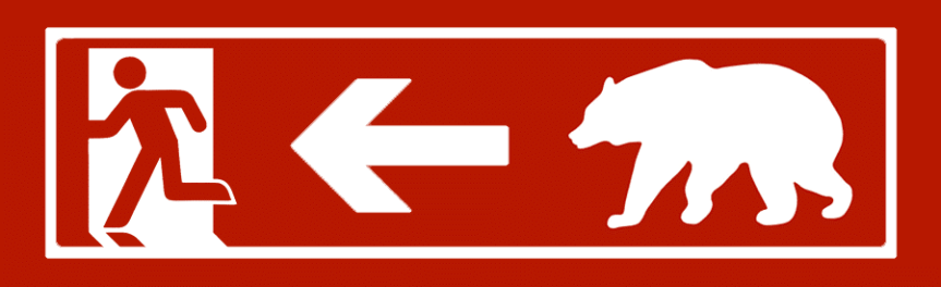 Banner - Exit pursued by a bear sign